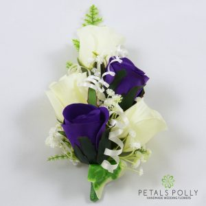 purple and ivory silk rose wrist corsage