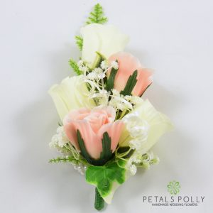 peach and ivory silk rose wrist corsage