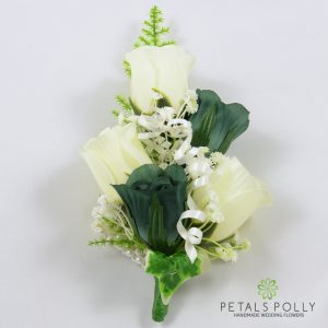 sage green and ivory silk rose wrist corsage