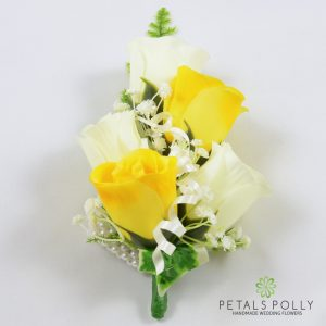 yellow and ivory silk rose wrist corsage