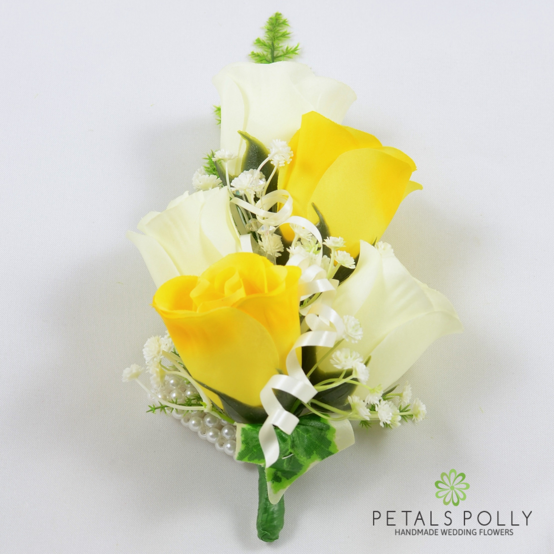 Yellow Ivory Rose Wrist Corsage With Crystals Ivy And Greenery