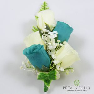 teal and ivory silk rose wrist corsage