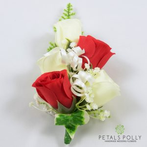 red and ivory silk rose wrist corsage