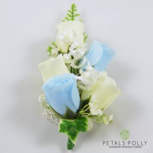 baby blue and ivory silk rose wrist corsage