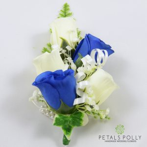 royal blue and ivory silk rose wrist corsage