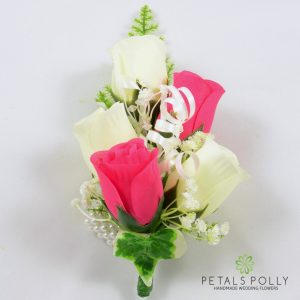 hot pink and ivory silk rose wrist corsage