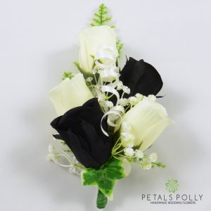 black and ivory silk rose wrist corsage