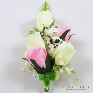 baby pink and ivory silk rose wrist corsage