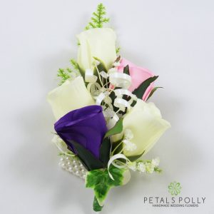 purple, baby pink and ivory silk rose wrist corsage