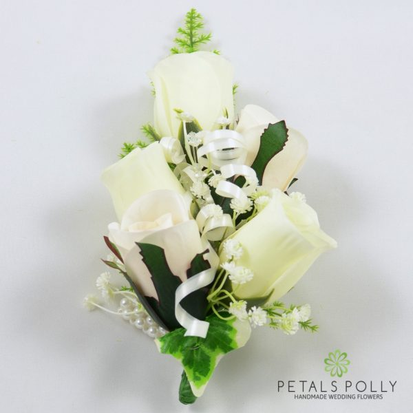 Ivory Rose Wrist Corsage with Crystals, Ivy and Greenery
