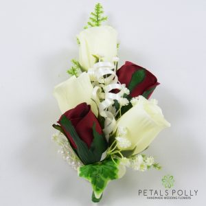 burgundy and ivory silk rose wrist corsage
