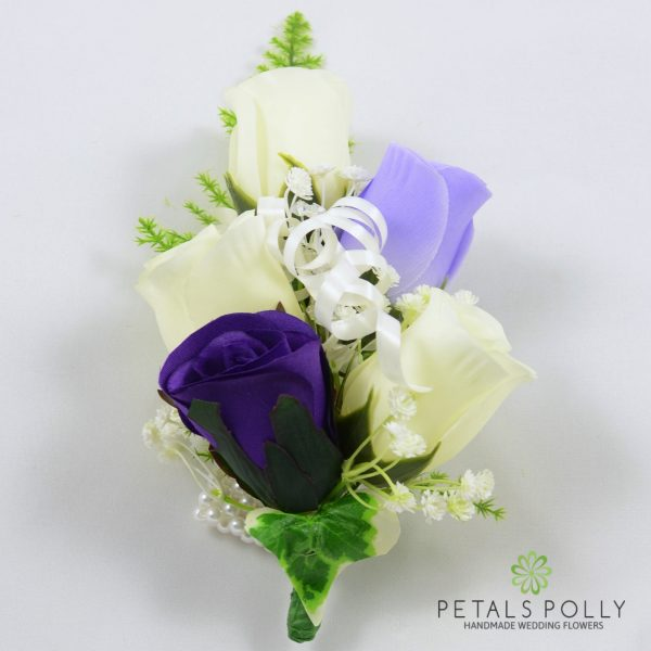 Purple, Lilac & Ivory Rose Wrist Corsage with Crystals, Ivy and Greenery