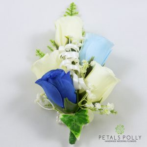 royal blue, ivory and baby blue silk rose wrist corsage