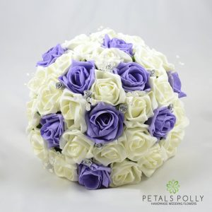 lilac and ivory foam rose brides bouquet
