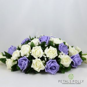 lilac and ivory foam rose top table decoration