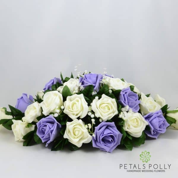 Lilac & Ivory Foam Rose Top Table Decoration