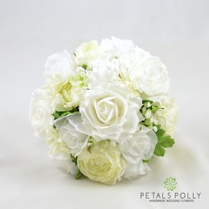 silk ivory and white bridesmaids bouquet