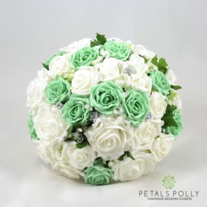 mint green and white artificial wedding flower package