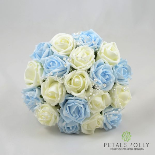 Baby Blue & Ivory Foam Rose Bridesmaids Posy with Pearl Loops