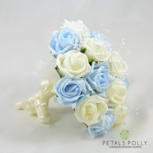 baby blue and ivory foam rose bridesmaids bouquet