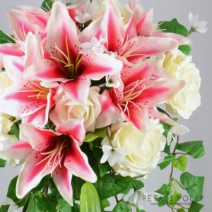 artificial stargazer lily and ivory rose brides shower bouquet