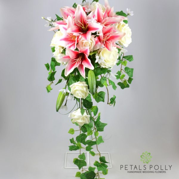 Stargazer Lily & Ivory Rose Brides Shower Bouquet