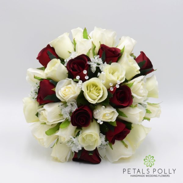 Burgundy & Ivory Rose Package with Crystal Stems