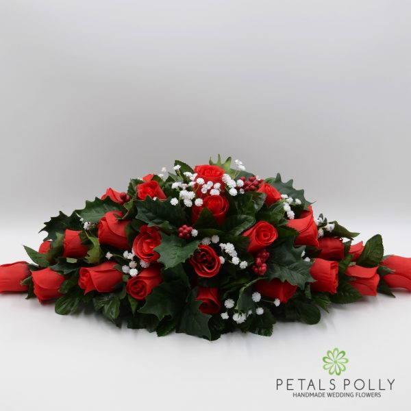 Red Rose Christmas Top Table Decoration with Holly