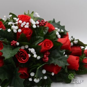 christmas red rose and holly silk top table decoration