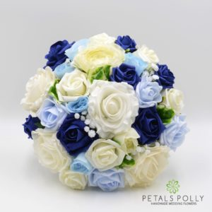 Blue and ivory artificial wedding flower package