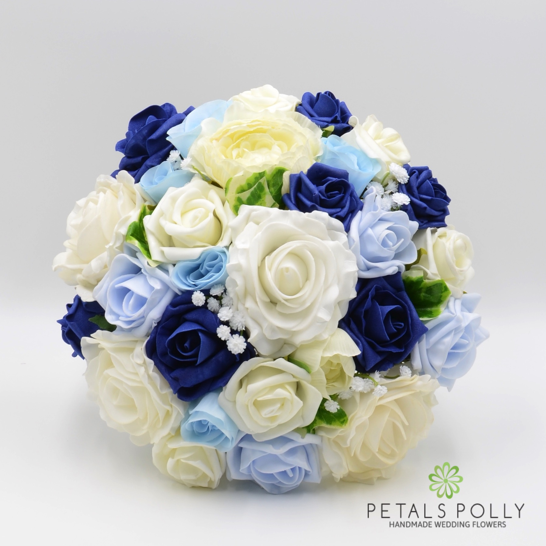 Navy Blue Baby Blue Ivory Rose With Ranunculus Package