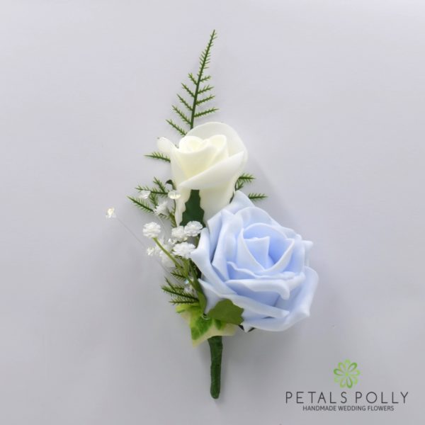 Navy Blue, Baby Blue & Ivory Rose with Ranunculus Package