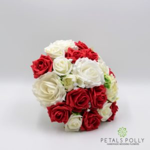 artificial red and ivory brides bouquet
