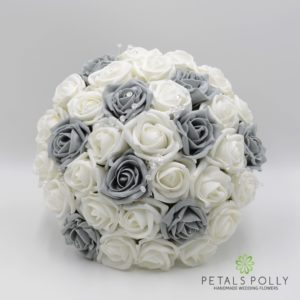 artificial grey white wedding flower package