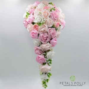 Baby pink, antique pink, blush pink and white brides teardrop bouquet