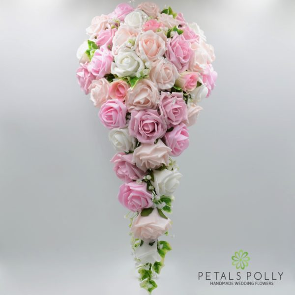 Baby Pink, Antique Pink, Blush Pink & White Rose Brides Teardrop Bouquet