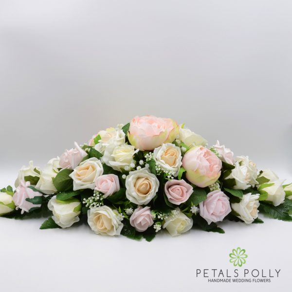 Pastel Pink, Peach & Ivory Rose Top Table Decoration with Peony