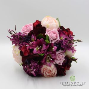 silk burgundy plum pink wedding flower package