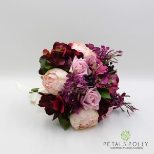 burgundy plum pink artificial bridesmaids bouquet posy