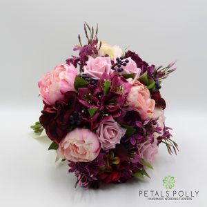 burgundy plum pink artificial brides bouquet posy