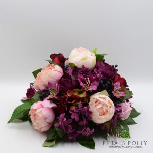 burgundy plum pink artificial table centre decoration