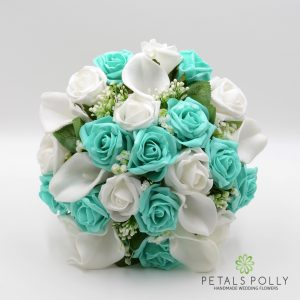 Tiffany blue and white artificial brides bouquet posy
