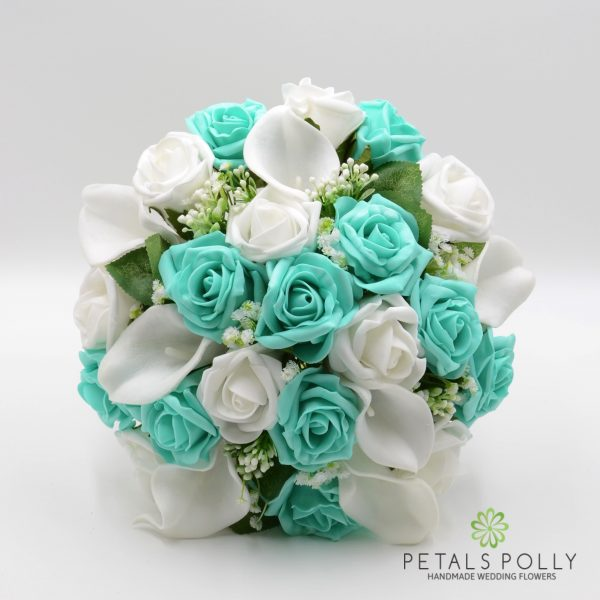 Tiffany Blue & White Rose Calla Lily Brides Posy