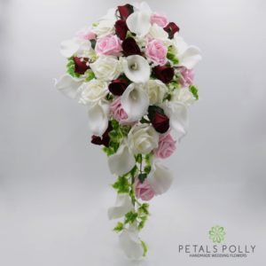 burgundy pink artificial calla lily rose brides teardrop bouquet