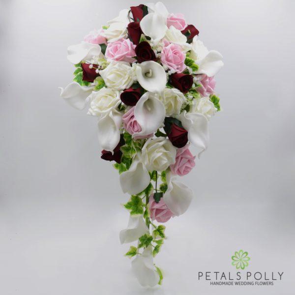 Burgundy, Antique Pink & Ivory Rose Calla Lily Brides Teardrop Bouquet