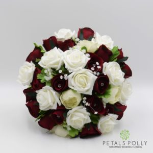 artificial burgundy and ivory wedding flower package