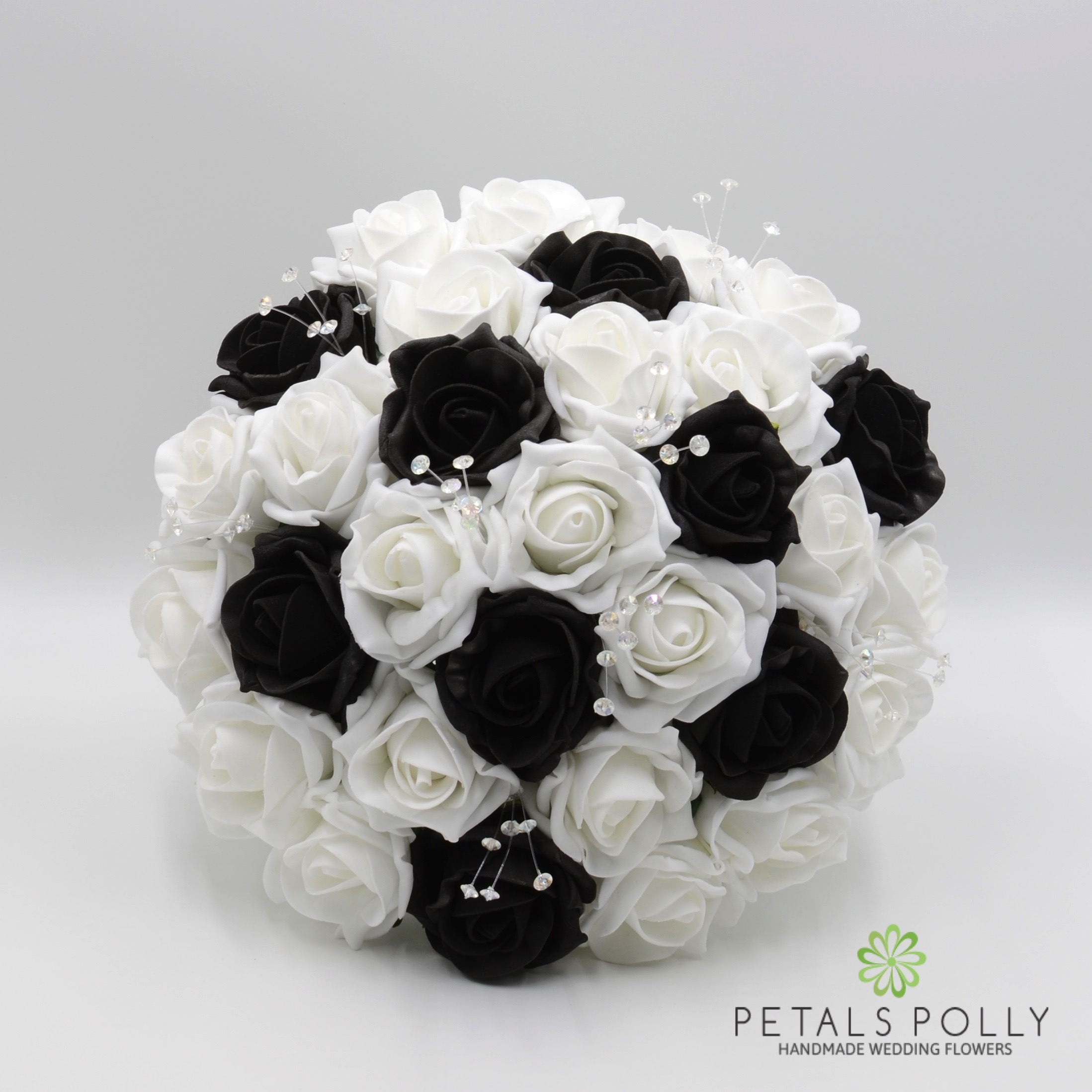 Black White Foam Rose Package With Crystal Stems
