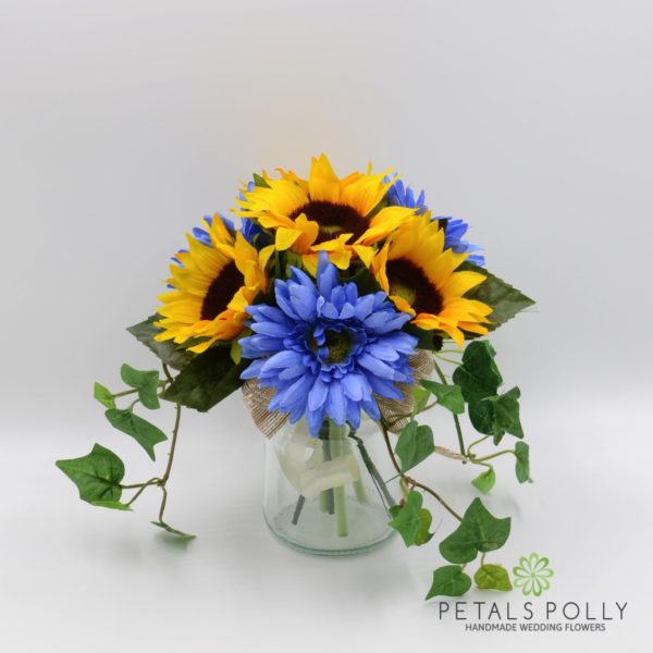 Sunflower & Blue Gerbera Jam Jar Posy Table Centre Decoration