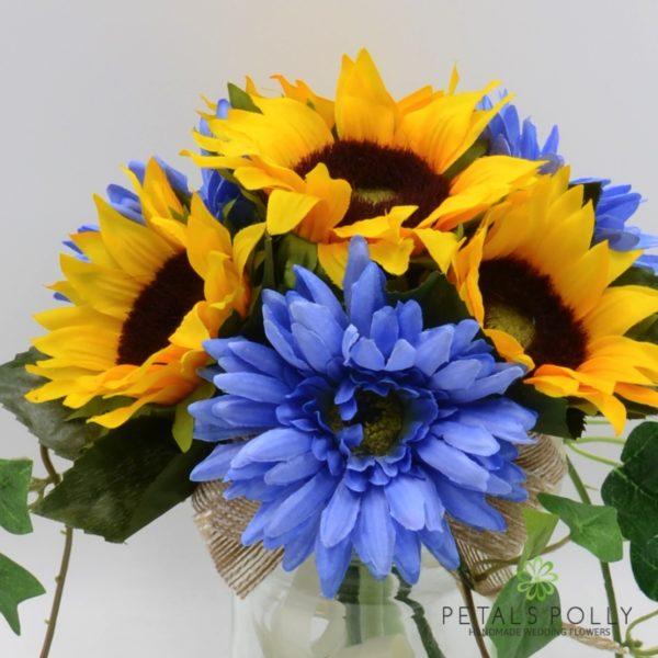 Sunflower & Blue Gerbera Jam Jar Posy Table Centre Decoration