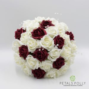 burgundy and ivory foam rose wedding flower package